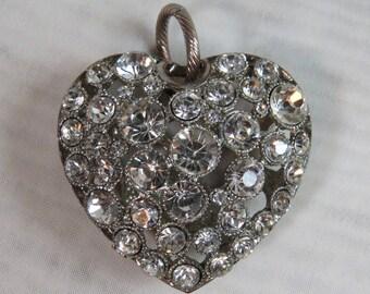 Vintage RHINESTONE HEART Pendant Silver Puffed Heart