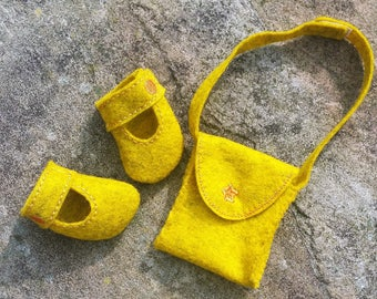 doll's accessories shoes, doll's messenger bag, doll's Mary-Jane shoes, CE mark, doll's dress up, felt, doll's ballet shoes, doll's boots
