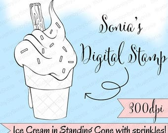 Ice cream in flat bottomed cone with whipped cream and sprinkles- Digital Stamp-Coloring page, Clip art, 300dpi. Black & white-