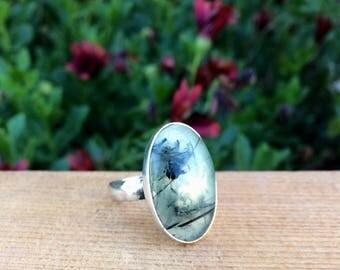 Prehnite Ring Size 9.25 / Sterling Silver Ring / Prehnite Statement Ring / Large Prehnite Jewellery / Silver Prehnite Jewelry / Green Stone
