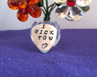 "Men's gift a guitar pick with ""I pick you"" with a heart, handstamped"