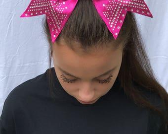 Pink Cheer Bow With Rhinestone Tiara Tips