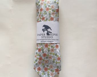 PAXON // Handmade skinny cotton necktie by Paper Magpie Studio // pink and green floral
