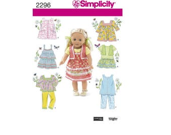 """Simplicity Pattern 2296 - Clothes for 18"""" Doll"""