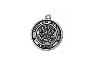United States Army Medal Silver Tone U. S. Army Pendant Round United States Army Charms Bracelet Charms 2 Pieces