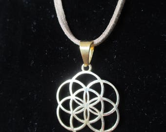 Flower of life pendant gold plated brass.