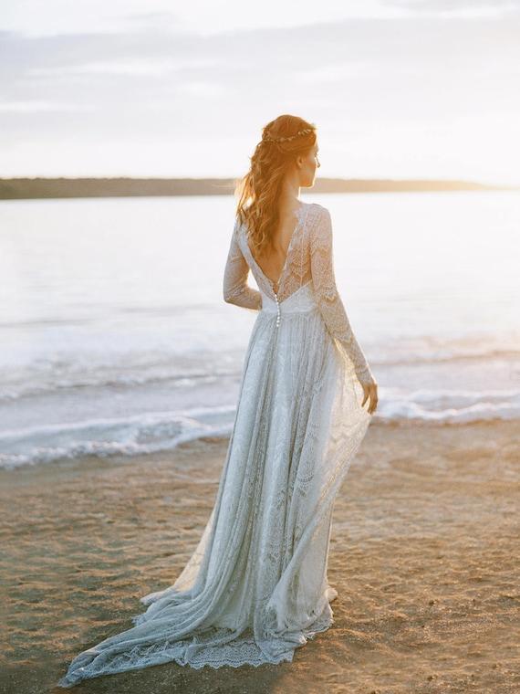 Gray wedding dress open back wedding dress boho wedding like this item junglespirit Gallery