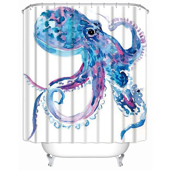Octopus Pastel Watercolor Shower Curtain