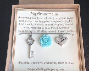 My Grandma from A to Z Necklace - C159 - Thoughtful Gift for Grandma - Grandma Necklace - My Grandma Necklace - Birthday Gift for Grandma