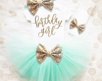 Birthday Girl 1st Birthday Outfit | Mint And Gold 1st Birthday Girl Outfit | Glitter Birthday Shirt | Birthday Tutu Set | Cake Smash Outfit