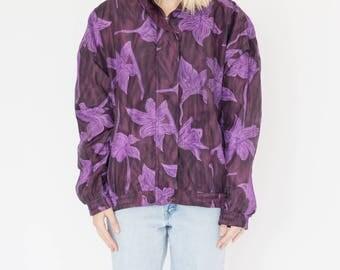 Vintage 90s Purple Flower Bomber Jacket