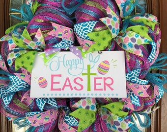 Happy Easter Deco Mesh Wreath for Front Door Holiday Decor