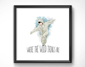 Where the Wild Things are 40x40cm-poster art print HQ exclusive/exclusive poster High Quality Printing-Spike Jonze Maurice Sendak Max