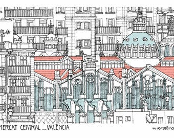 Mercado Central, Valencia, Spain. Card | print of its architecture (ink drawing)