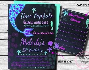 Mermaid Time capsule, mermaid 1st birthday, time capsule, Mermaid birthday party, 1st Birthday, first birthday, 2nd birthday, 3rd birthday