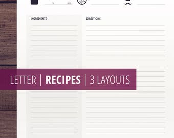 Recipe Printables / Recipe Page / Printable Cook Book / Recipe Template / Recipe Inserts / US Letter Size / Recipe Cards