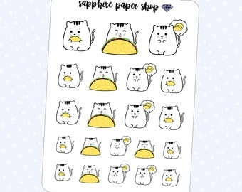 Luna the Cat | Hand Drawn Taco Planner Stickers, Cat Eating Tacos [MATTE]