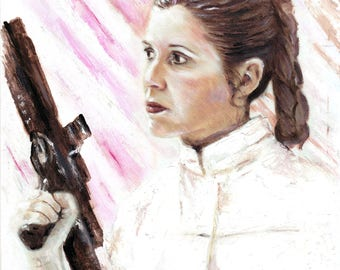 Princess Leia Organa oil painting - A4 sized Star Wars art - Carrie Fisher wall art - Framed and ready to hang