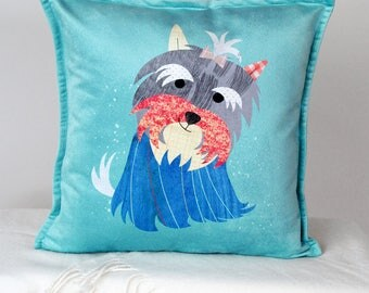 Dog pillow cover, Westie gift, Dog Cushion, Terrier pillow, Westie decorative pillow, Face print, Pet Portrait, Dog lover gift, Puppy gift