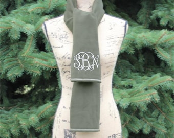 Womens scarf, Womens Monogrammed Scarf, Monogram Scarf Women, Winter Scarf, Personalized scarf, Fleece Scarf, Gift for her, Birthday Gift