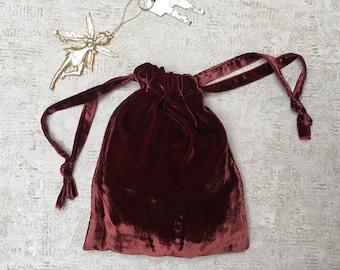 smallbag velvet Burgundy Red smooth silk - blend cotton bag
