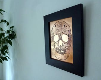 Skull Copper Etching | Framed Image | Wall Art | Art | Etched Image