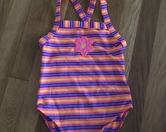 1990's gymboree neon striped floral swimsuit - size 4t / 5t