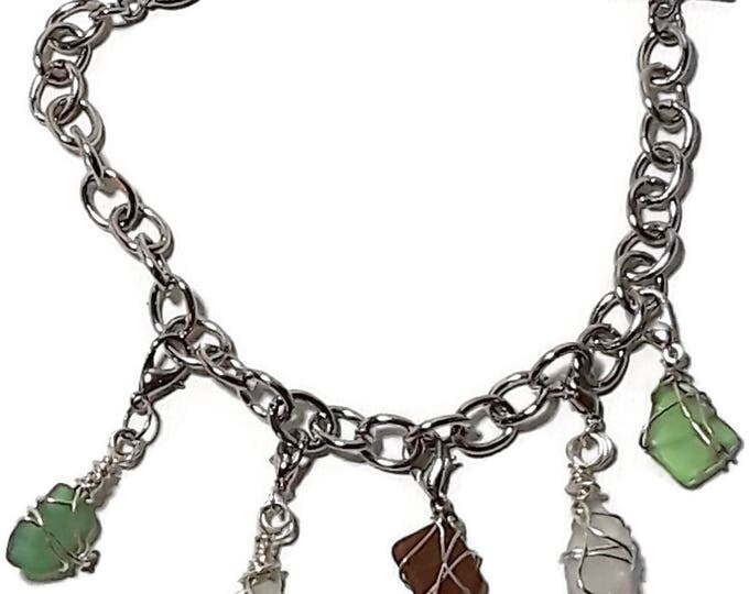 Bracelet with removable charms - Two Brown & Two White and One Green beach glass charm with lobster clips - chain bracelet