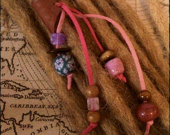 M/L - Unique hand crafted, up-cycled genuine leather dread/hair cuff/bead with beaded tails M/L