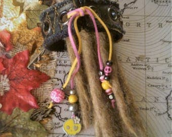VEGAN - Unique Handmade, Up-Cycled  Multi Dreads/Hair/Neck/Wrist - Cuff/Band/Wrap/Tie/Bun Holder with Beaded Tails.