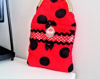 Spotty red case, spotty glasses case, glasses case, funda gafas, romantic clip purse, etui lunettes, glasses accessories, spotty frame purse