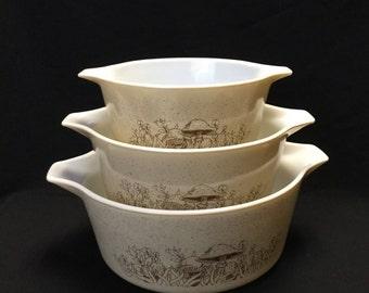 Vintage Pyrex Casserole Dish, Forest Fancies # 473, 474, 475, Retro Kitchen