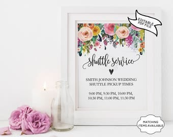 Shuttle Service Wedding Sign EDITABLE PRINTABLE Floral Colourful Peony Wildflower Transportation 5x7 8x10 Wedding Reception Printable PCFDWS