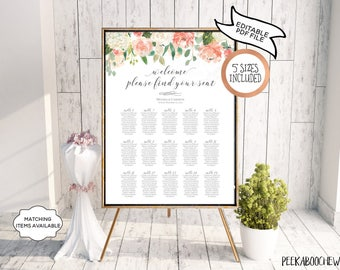 Table Seating Chart Poster Sign EDITABLE PRINTABLE Wedding Find Your Seat Reception Plan Name Board