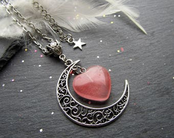 Moon Crescent and Cherry Quartz Heart Necklace, Heart Necklace, Moon Necklace, Cherry Quartz Necklace, Gift Idea for Her, Moon Crescent