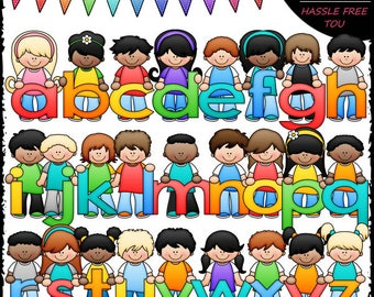 Bright Alphabet Kids (Lowercase) Clip Art and B&W Set