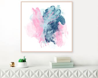 Pink and Blue Abstract Art, Colourful Art Print, Living Room Decor, Nursery Painting, Printable Minimalist Art, Downloadable Art