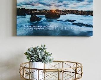 Christian Wall Art Canvas--Psalm 62:7, faith based art. beautiful ocean scene, Bible Verse, Scripture