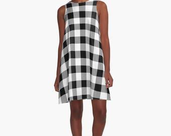 Plaid A Line Dress, Black and White Plaid, Plaid, Black and White Pattern, dress, Dress, A Line Dress, plaid pattern,