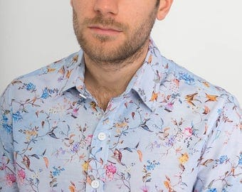 Mens 100% Cotton Short Sleeve Slim Fit Blue Floral Flowers Bird Print