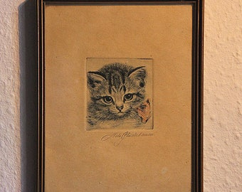 Vintage framed drawing or etching depicting a Cat; signed