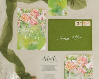 Garden - Wedding Stationery Set | Custom Invitation, RSVP, Save the Date, Details Cards, Menu, Name Tag, Wedding Map | Watercolour