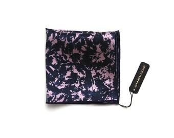Men's Navy purple printed Silk Pocket Square Handkerchief Hanky Hankie Squares Camellucci