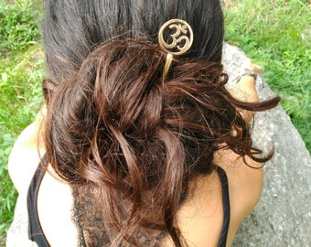 OM brass hair stick, sacred symbols, spiritual jewelry, hair stick, spiritual hair jewelry.