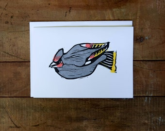 Bohemian waxwing hand stamped greeting card
