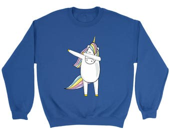 Funny Dabbing Unicorn Ma Hip-Hop Pose Crewneck Sweatshirt