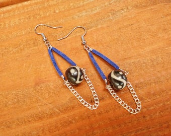 Ethnic painted bead teardrop earrings
