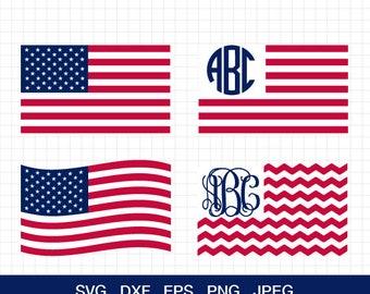 USA flag svg 4th of July svg American flag svg Merica svg Patriotic Monogram United States svg for CriCut Silhouette svg dxf eps jpg png