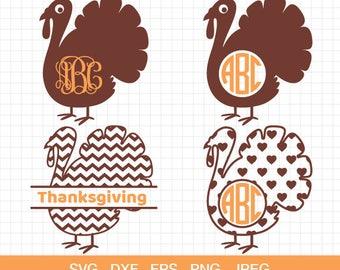 Turkey svg, turkey monogram frames svg, Thanksgiving svg, Thanksgiving turkey svg, fall svg, cutting files for Cricut & Silhouette.