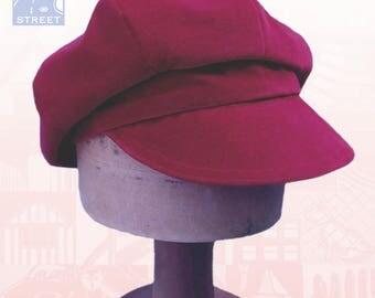 Rich red raspberry cotton velvet velveteen newsboy cap boho slouchy cap